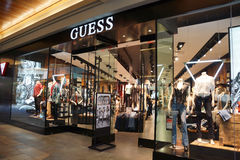 Guess Shop. HONOLULU, HAWAII - AUGUST 7: Guess Shop on August 7, 2014 in Ala Moana Mall on Oahu, the store is an American upscale clothing line brand and during stock photo