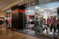 Guess Shop in mall with 50 percent off sign Royalty Free Stock Photos