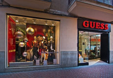 Guess store christmas window display Stock Photos