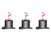 Guess where. Under one hat is hiding something. guess where vector illustration