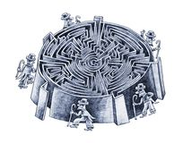 Guess! Which way is correct?. Five gentlemen are looking for a way to the center of the labyrinth. Which way is correct Royalty Free Stock Images