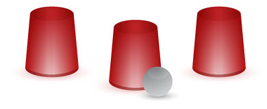 Guessing concept. Guess which cup! Classic game cup confusion concept illustration isolated over white Royalty Free Stock Image