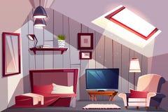 Guest bedroom on attic cartoon vector interior vector illustration