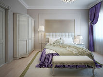 Guest bedroom neoclassic style Royalty Free Stock Photo