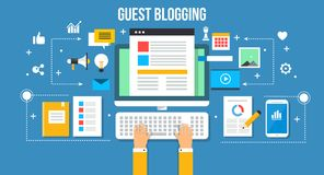 Guest blogging - flat design vector illustration. Web banner concept. Modern idea of guest blogging. Marketing strategy to boost online performance and attract Royalty Free Stock Images