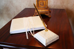 Guest Book. Beautiful wedding guest book and pen stand Royalty Free Stock Images