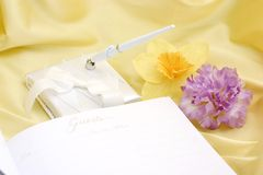 Guest book with flowers Royalty Free Stock Images