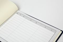 Guest book on white background stock photography