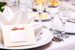 Guest Card. Blank Guest Card on restaurant table Royalty Free Stock Photos