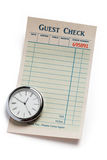 Guest Check and clock royalty free stock photos