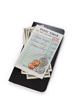 Guest Check and dollar. Concept of restaurant expense Stock Image