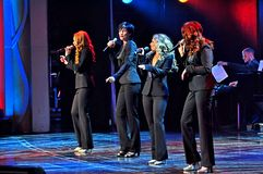 Guest entertainers show act. The Lady Luck feature headline guest entertainers show act onboard cruise ship Adventure of the Seas stock images