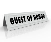 Guest of Honor Name Tent Card Speaker Welcome Dignitary Place Ho Royalty Free Stock Photo