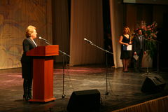 The guest of honor. Valentina Matvienko, one of the most famous contemporary female politicians. Stock Image