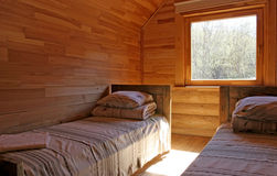 Guest house. Photo og the wooden guest house interior Stock Photo