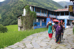 Guest house in Birethanti, Nepal Stock Image