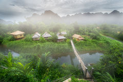 Guest house in nature beautiful scenery in Vang Vieng. At Laos Royalty Free Stock Photos