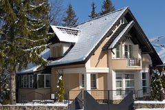 Guest house. A new luxury guest house in Sinaia, in winter Royalty Free Stock Images
