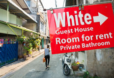 Guest house signboard in southeast asia Royalty Free Stock Image