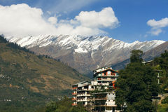Guest house in the village of Vashisht. From the balcony you can admire the beautiful mountain views. Kulu Valley, Himachal Pradesh, India Stock Image