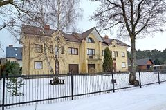 The guest house in winter day. Kaliningrad region Royalty Free Stock Photos