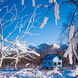 Guest house in winter forest Stock Photos