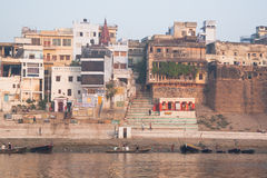 Guest houses with Ganga view. Holy river of Ganga in Varanasi, Uttar Pradesh, India Stock Image