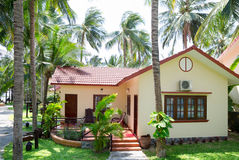 Guest house in Vietnam. Guest houses among palm trees, Southern Vietnam royalty free stock photo