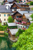 Guest houses view from Hallstatt village Stock Images