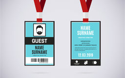 Guest id card set vector design illustration Royalty Free Stock Photos