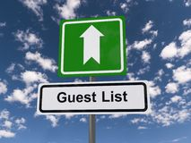 Guest list road sign Stock Photography