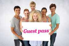 Guest pass against white wall Stock Images