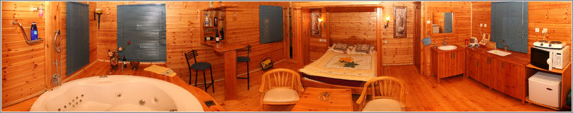 Guest room. Wood guest room panorama Royalty Free Stock Photo