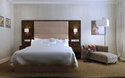 Guest Room Contemporary style. 3d images royalty free stock images