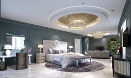 Guest Room In A Luxurious New Hotel With Open Space, A Bedroom And A Living Room Lounge Stock Photography