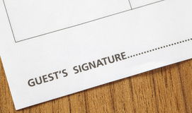 Guest signature Royalty Free Stock Photography