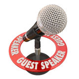 Guest Speaker Microphone Presentation Discussion Panelist. Guest Speaker words in a ring around a microphone to illustrate someone invited to give a speech to a Royalty Free Stock Photo
