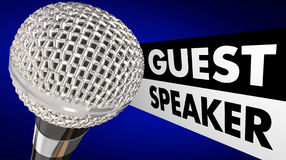 Guest Speaker Microphone Words Introduction Stock Images
