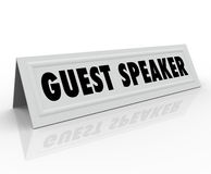 Guest Speaker Name Tent Card Presentation Panel Discussion Stock Photography
