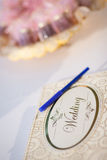 Guestbook and pen. For wedding ceremony royalty free stock image