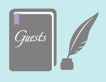 Guestbook with Quill Pen Royalty Free Stock Photos