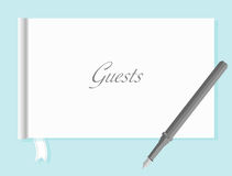 Guestbook with Quill Pen Royalty Free Stock Photography