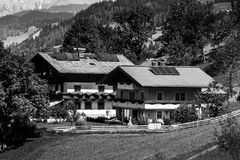Guesthouse in calm place, mountains and nature, Austria Royalty Free Stock Photos