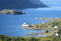 Guesthouse in the fjord of Tangstad  Stock Image