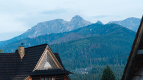Guesthouse and Mountain Landscape in Zakopane. Guesthouse and mountain landscape horizon in Zakopane Royalty Free Stock Images