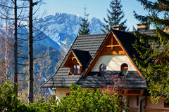 Guesthouse and mountain snowy landscape horizon Royalty Free Stock Photos