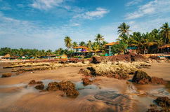 Guesthouses on the shore of the Arabian Sea in Ashvem, Goa Royalty Free Stock Photography