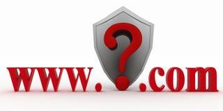在万维网和公司的域名之间的盾和Guestion标记 图库摄影