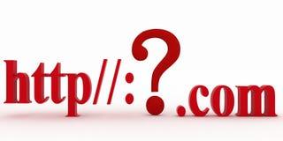 Guestions-Kennzeichen zwischen HTTP und Punkt-COM. Konzeptunbekanntwebseite. Lizenzfreie Stockfotos