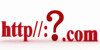 Guestionteken tussen HTTP en puntcom. Concepten onbekende Web-pagina. Royalty-vrije Stock Foto's